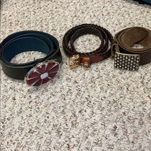 Bundle of 3 genuine leather belts